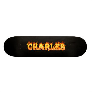 Charles real fire and flames skateboard design