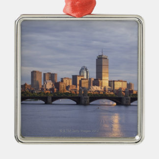 Charles River and The Longfellow Bridge Silver-Colored Square Decoration