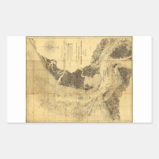Charleston Harbor Civil War Map Sept. 7, 1863 Rectangular Stickers
