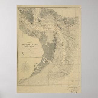 Charleston Harbor Map Poster