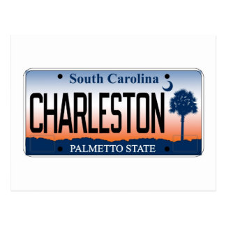 Charleston License Plate Postcard