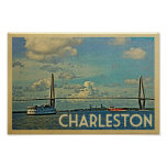 Charleston Poster Vintage Travel Cooper River