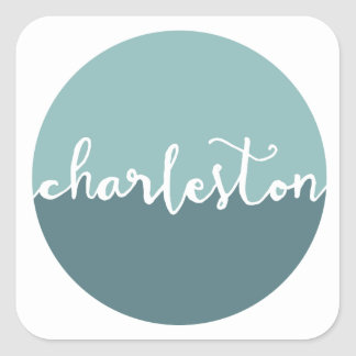 Charleston, SC | Blue Ombre Circle Square Sticker