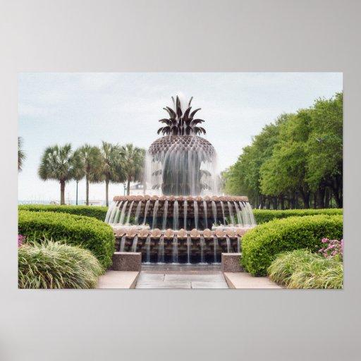 Charleston, SC Waterfront Pineapple Fountain Poster