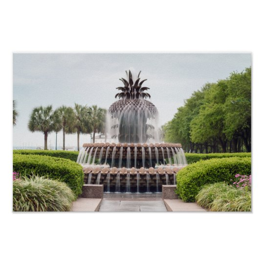 Charleston, SC Waterfront Pineapple Fountain Poster