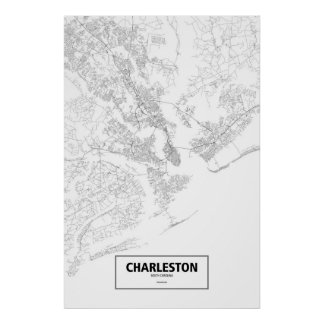 Charleston, South Carolina (black on white) Poster