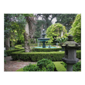 Charleston South Carolina Garden Fountain Print