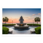 Charleston South Carolina Pineapple Fountain Postcard
