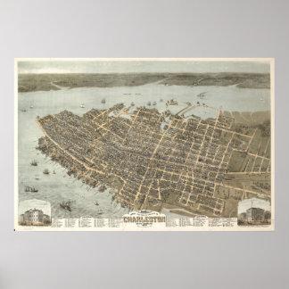 Charleston, South Carolina Vintage Map Poster