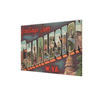 Charleston, West Virginia - Large Letter Scenes Canvas Print