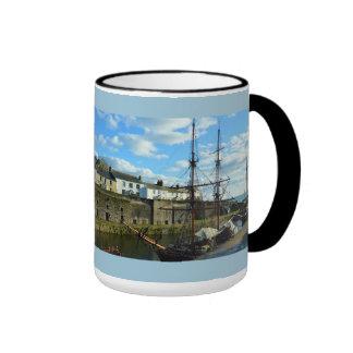 Charlestown Harbor Cornwall UK Poldark Location Ringer Mug