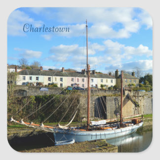 Charlestown Harbour Cornwall England Square Sticker