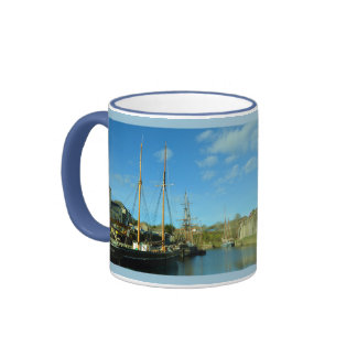 Charlestown Harbour Cornwall UK Poldark Location Ringer Mug