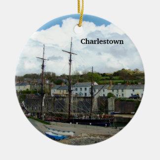 Charlestown Harbour Cornwall UK Poldark Location Round Ceramic Decoration