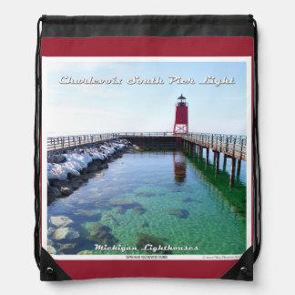 Charlevoix South Pier Light Drawstring Backpacks