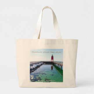 Charlevoix South Pier Light - Large Tote Jumbo Tote Bag