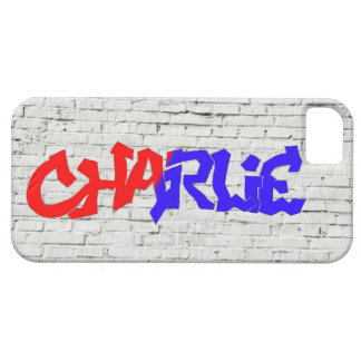 Charlie Graffiti on White Wall Case For The iPhone 5