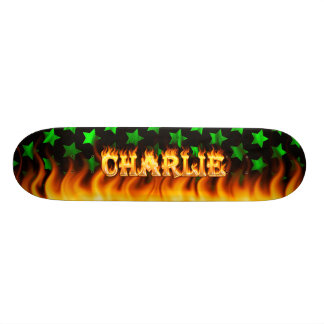 Charlie skateboard fire and flames design
