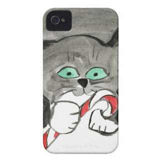 Charlie the Gray Kitten Loves Candy Canes iPhone 4 Case