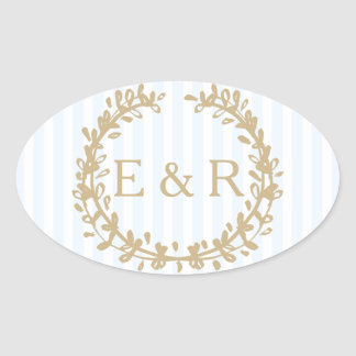 Charlotte Blue Pastel Blue Wreath and Sprig Oval Sticker