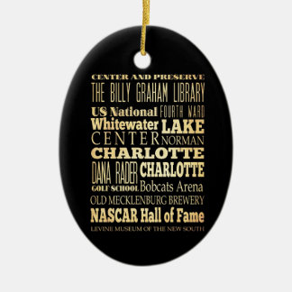 Charlotte City of North Carolina State Typography Christmas Ornament