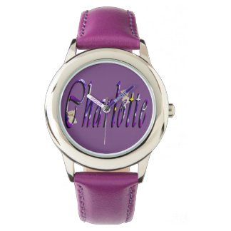 Charlotte, Cursive Name Logo, Purple Leather Watch