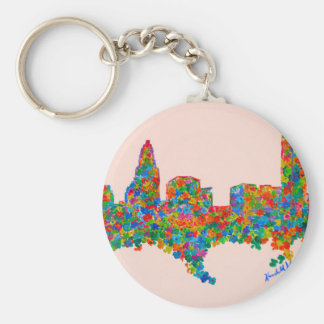 Charlotte Flower Basic Round Button Key Ring