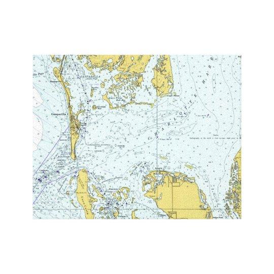 Charlotte Harbour Florida Vintage Nautical Map Canvas Print