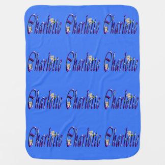 Charlotte, Name, Logo Babys Blue Fleece Blanket Receiving Blanket