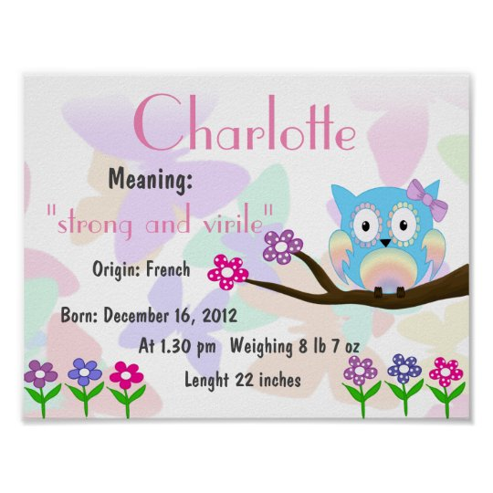 Charlotte Name meaning keepsake nursery Poster