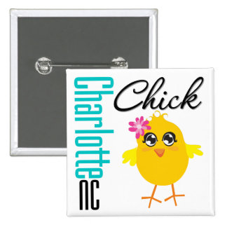 Charlotte NC Chick 15 Cm Square Badge