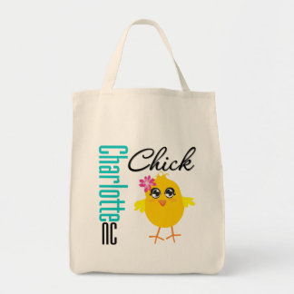 Charlotte NC Chick Grocery Tote Bag