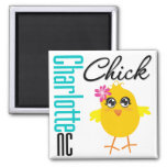 Charlotte NC Chick Square Magnet