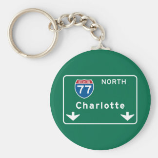 Charlotte, NC Road Sign Basic Round Button Key Ring