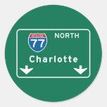 Charlotte, NC Road Sign Round Sticker