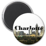 Charlotte NC Skyline with Charlotte in the Sky 6 Cm Round Magnet
