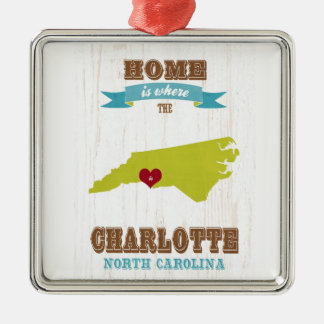 Charlotte, North Carolina Map – Home Is Where Christmas Ornament