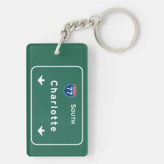 Charlotte North Carolina nc Interstate Highway : Double-Sided Rectangular Acrylic Key Ring