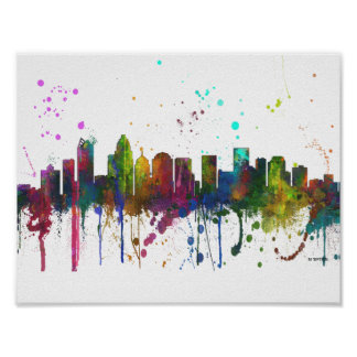 CHARLOTTE, NORTH CAROLINA SKYLINE POSTER