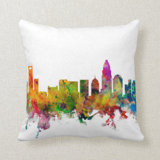 Charlotte North Carolina Skyline Throw Pillow