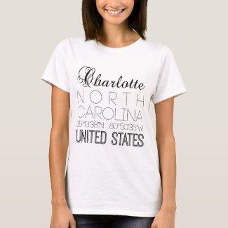 Charlotte, North Carolina, United States elegant T-Shirt