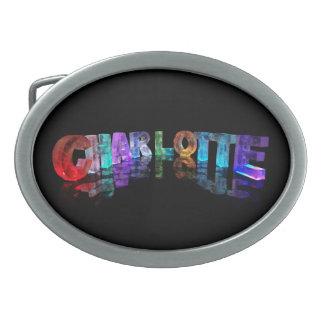 Charlotte- Popular Girls Names in 3D Lights Oval Belt Buckles