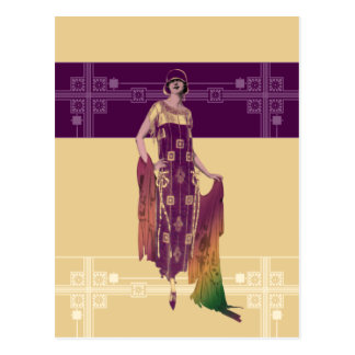 Charlotte s Shawl 1920s Fashion in Gold and Plum Postcards