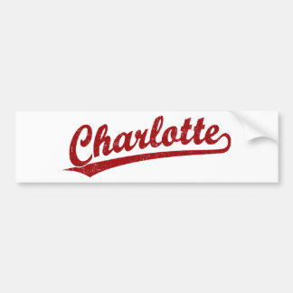 Charlotte script logo in red bumper sticker
