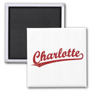 Charlotte script logo in red square magnet