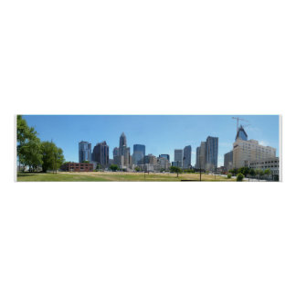 Charlotte Skyline Day - full @ 30.5x7.5 Poster