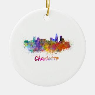 Charlotte skyline in watercolor round ceramic decoration