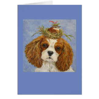 Charlotte the Cavalier with Carolina wren card