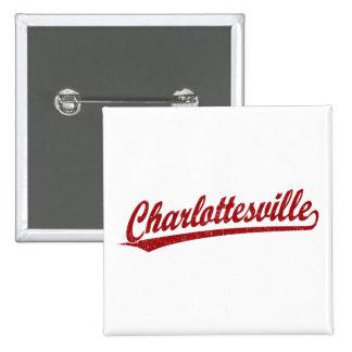 Charlottesville script logo in red 15 cm square badge