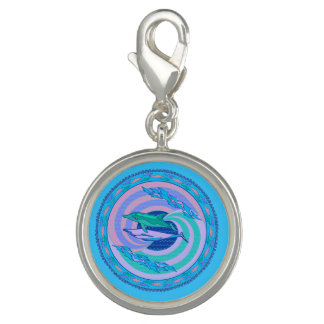Charm circling dolphins pastel colors design waves